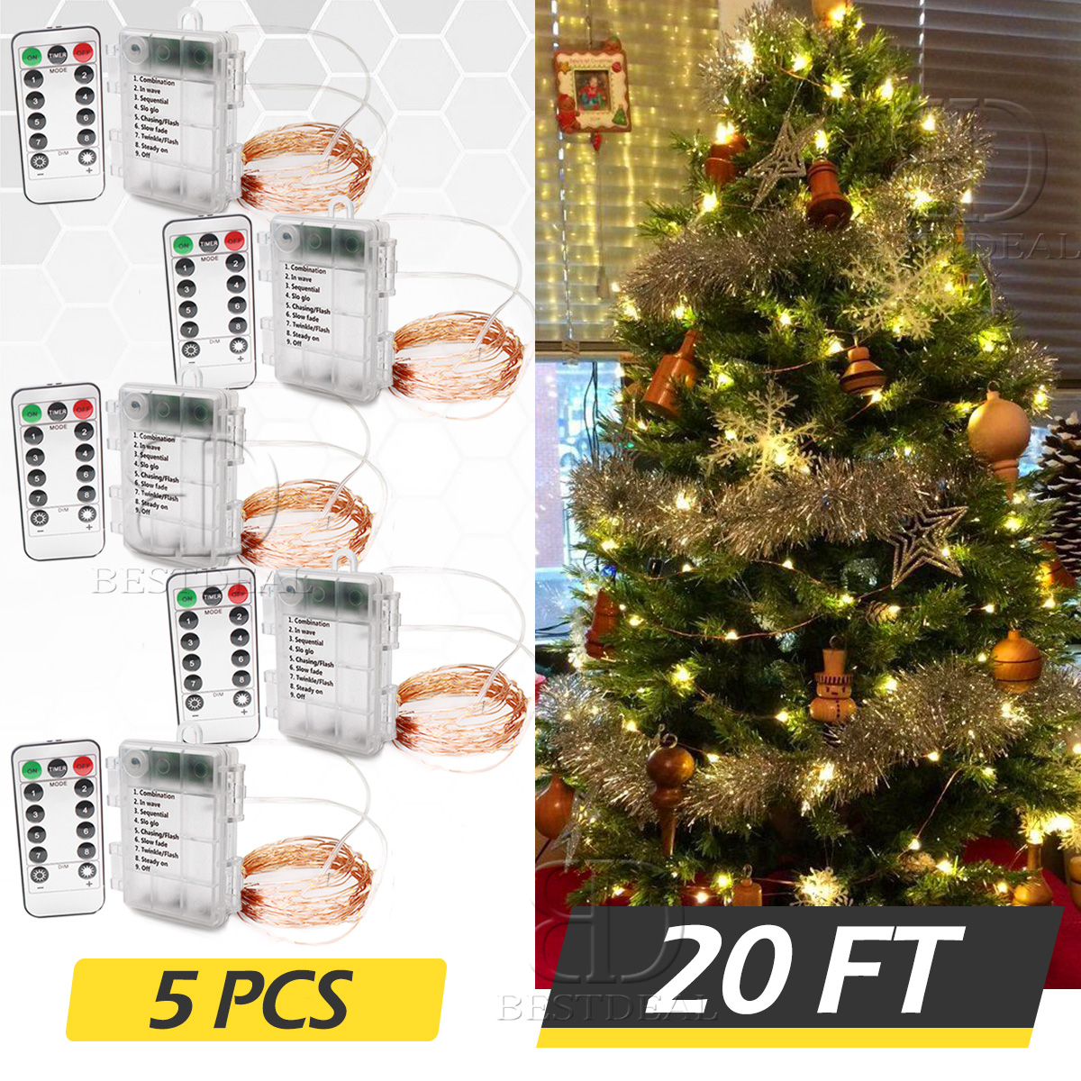 20 Ft Christmas Tree.Details About 5x 20ft Fairy String Led Rope Lights Gift Xmas Tree Party Wedding Decor Lights