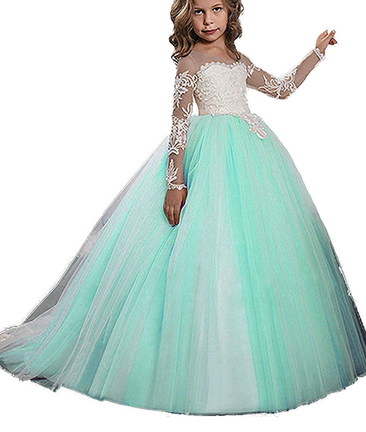 2aae8d835ce6 Flower Girl Dress Long Sleeve Princess Lace Applique Ball Gown Kid Tulle  Dress