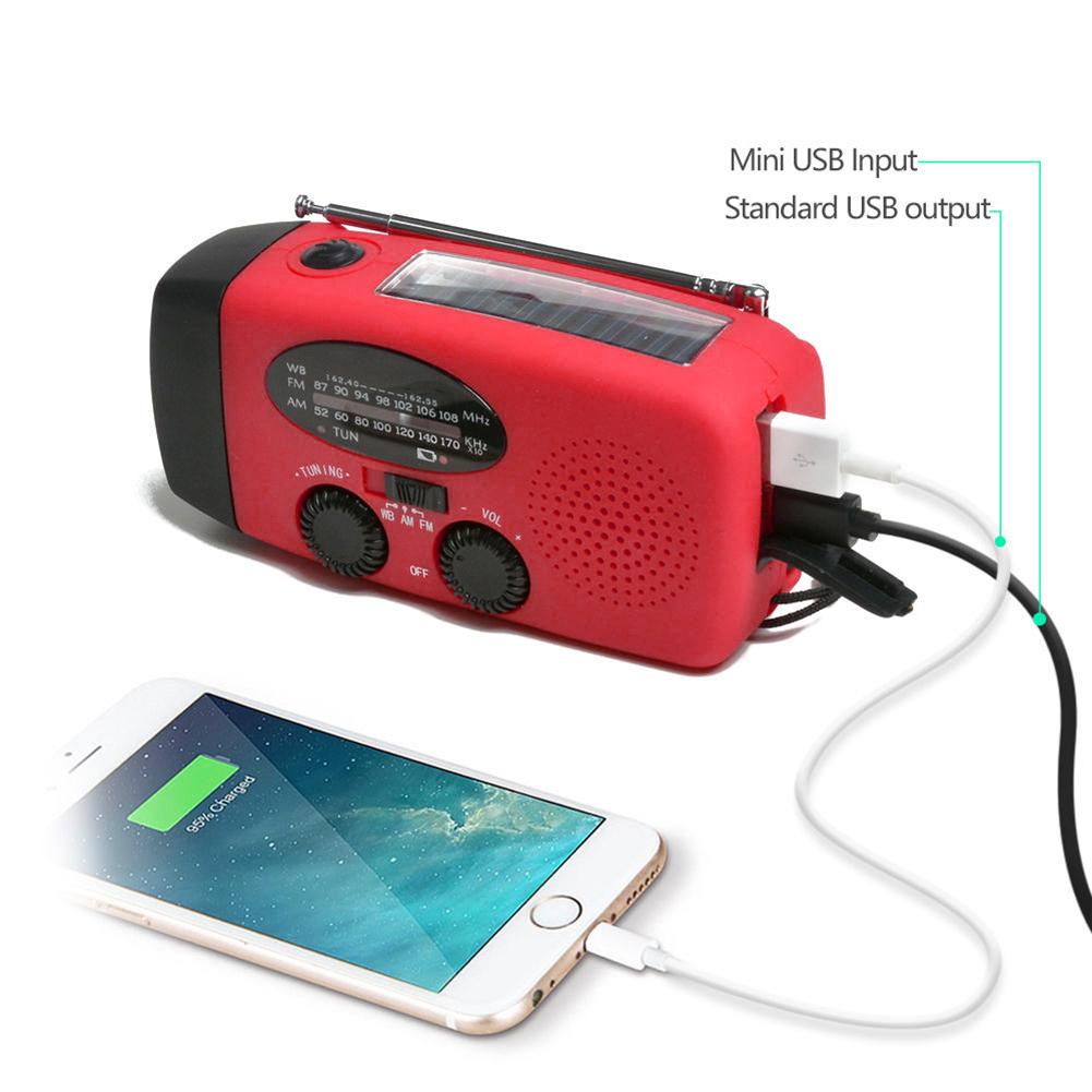 HOT Emergency Solar Crank Dynamo Radio with AM FM Flashlight USB Charger-Red wis