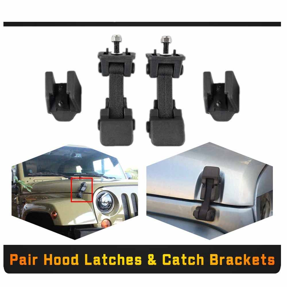 A pair Hood Catch Lock Latches Bracket Buckle Holder For Jeep Wrangler 07-16 BLK