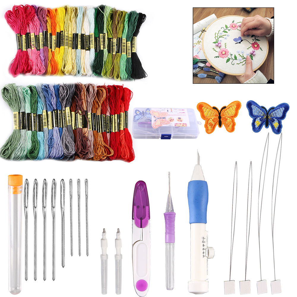 50 Threads DIY Embroidery Pen Knitting Sewing Tool Kit Magic Punch Needle Set