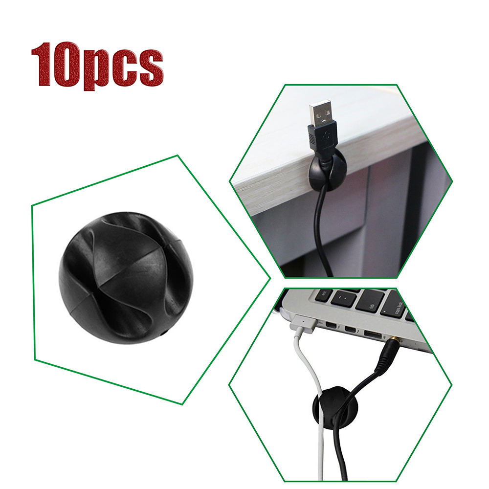 10 Dual Cable Clip Grip Desk Organizer Desktop Wire Cord Type USB Charger Holder