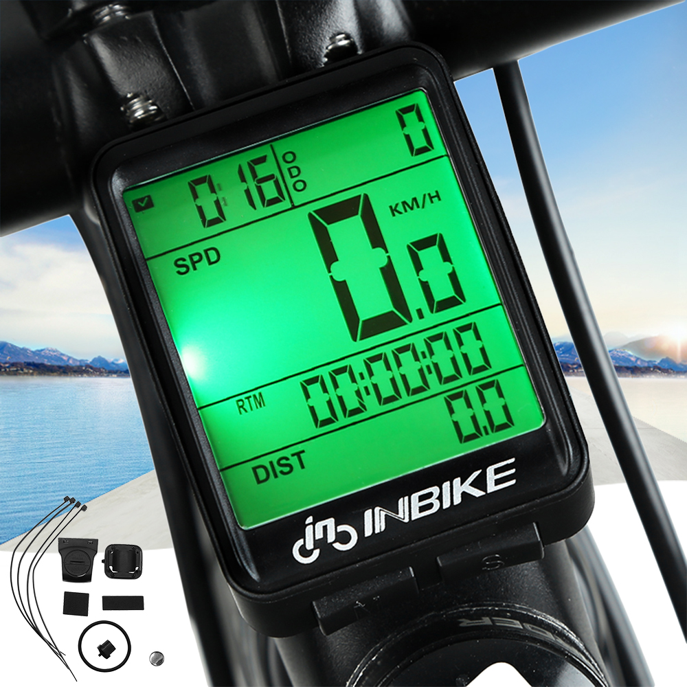 Wireless Bicycle Waterproof Cycling Odometer Speedometer with LCD Backlight Re