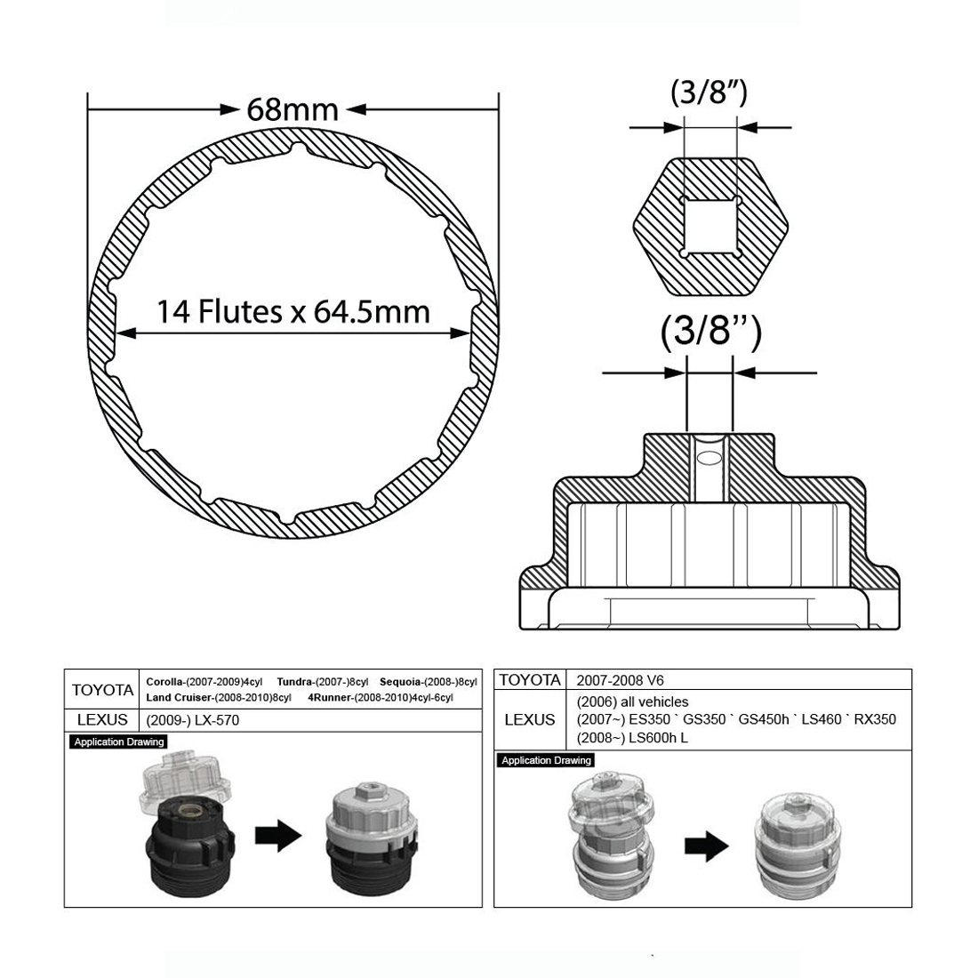 2 7l  5 7 engines oil filter wrench for toyota avalon camry