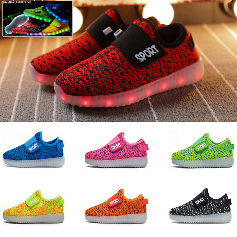 Kids Boys Girls Light Up Shoes LED Flashing Trainer Casual Sneakers Size Gift UK