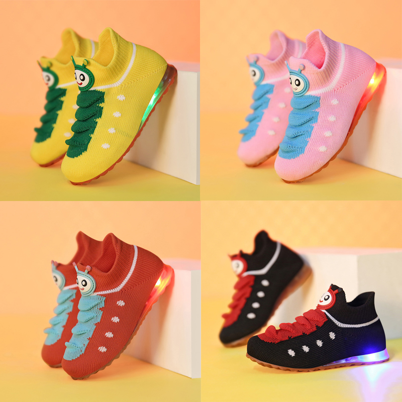 Toddler Kids Boys Girls Light Up LED Flashing Trainers Sneakers Running Shoes
