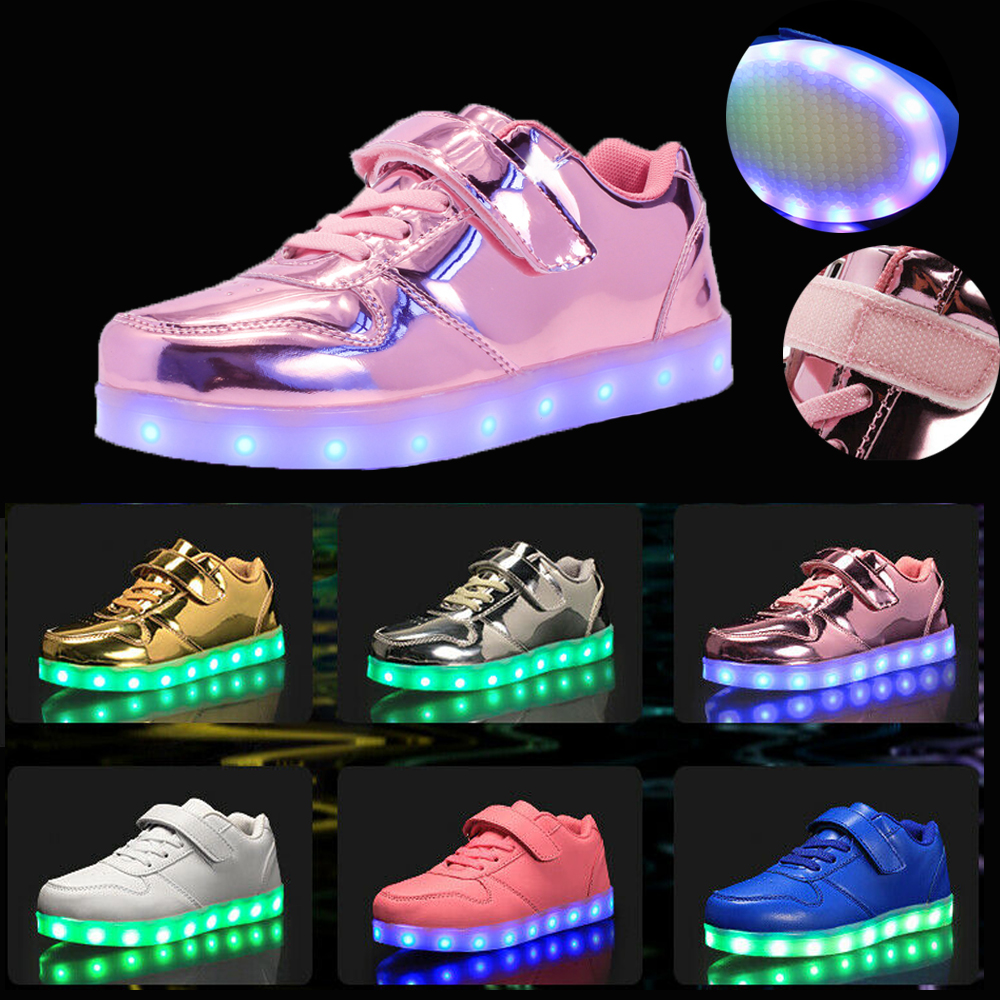 UK Unisex Kids USB Rechargeable LED Light Up Luminous Shoes Sneakers With Wings