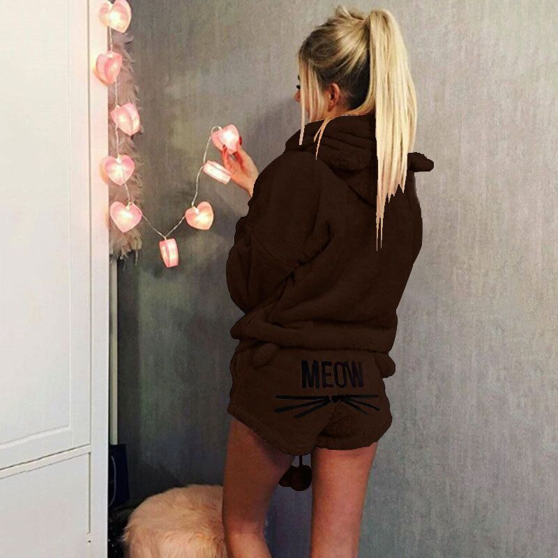 5a374ab0ce 2PCS Winter Warm Women Pajamas Set Soft Bathrobe Cute Cat Pyjamas Sleepwear  Pj