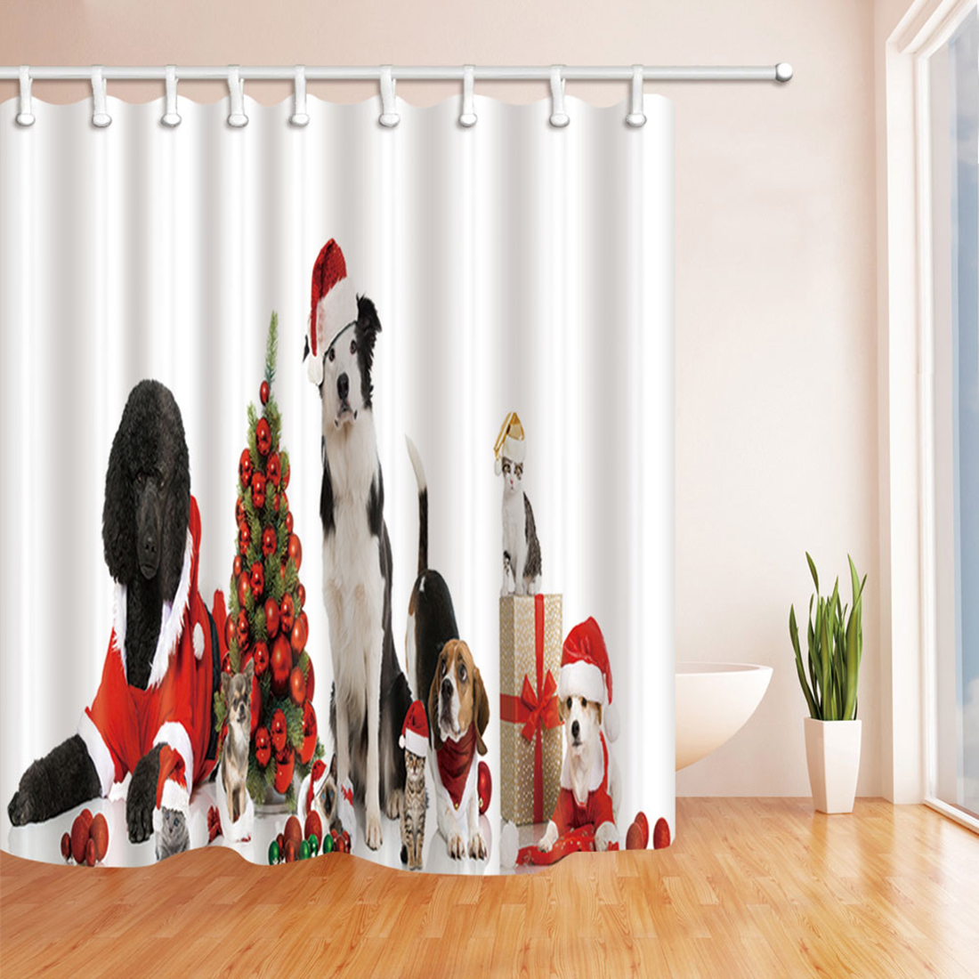 GWELL Weihnachten Anti-Schimmel Duschvorhang Fußmatte Badteppich WC ...