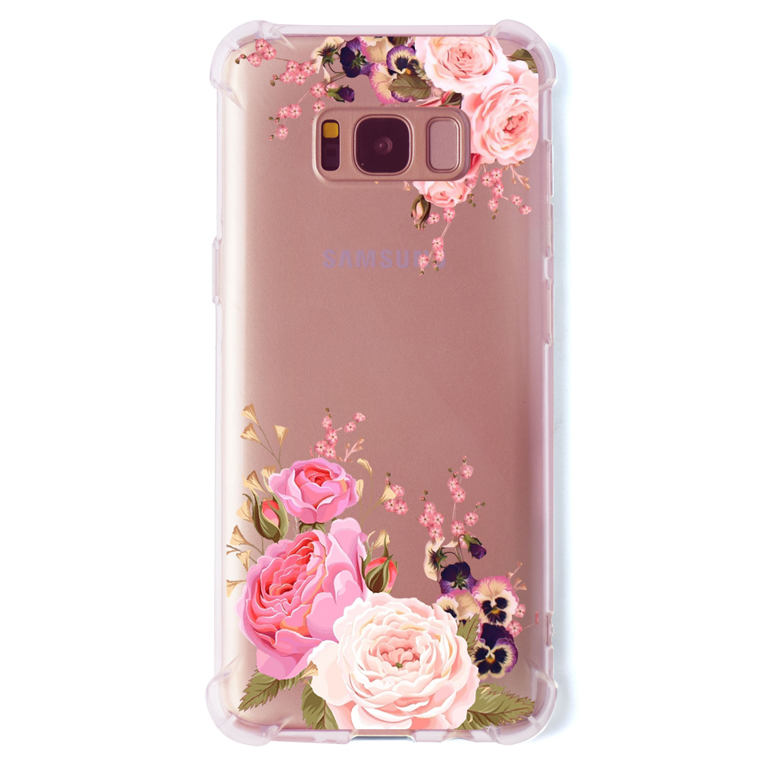 Hybrid Tough Floral Shockproof Tpu Bumper Case Cover For Samsung Asoftcase S8 Plus Galaxy Soft Rubber