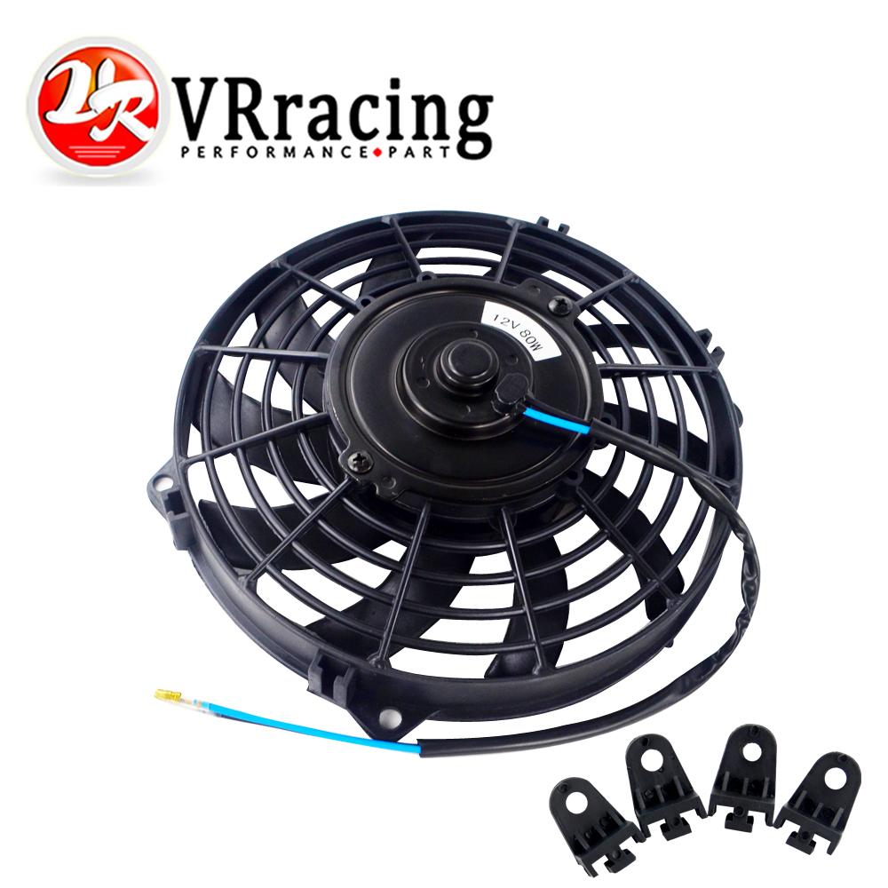 """8/"""" Inch New Black Universal Plastic Slim Radiator Cooling Fan 12V Mount Kit"""