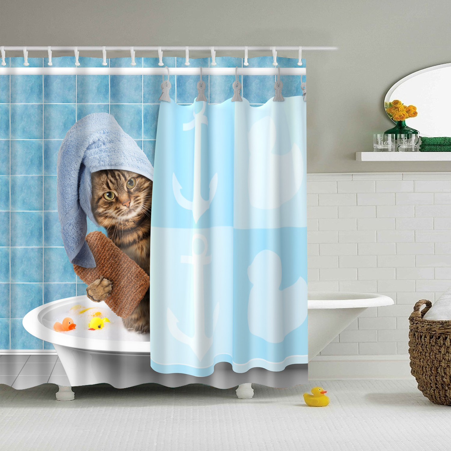 Details About Animals Funny Kitten Cat Bathing Decor Bathroom Shower Curtain 3d Printing 71 71