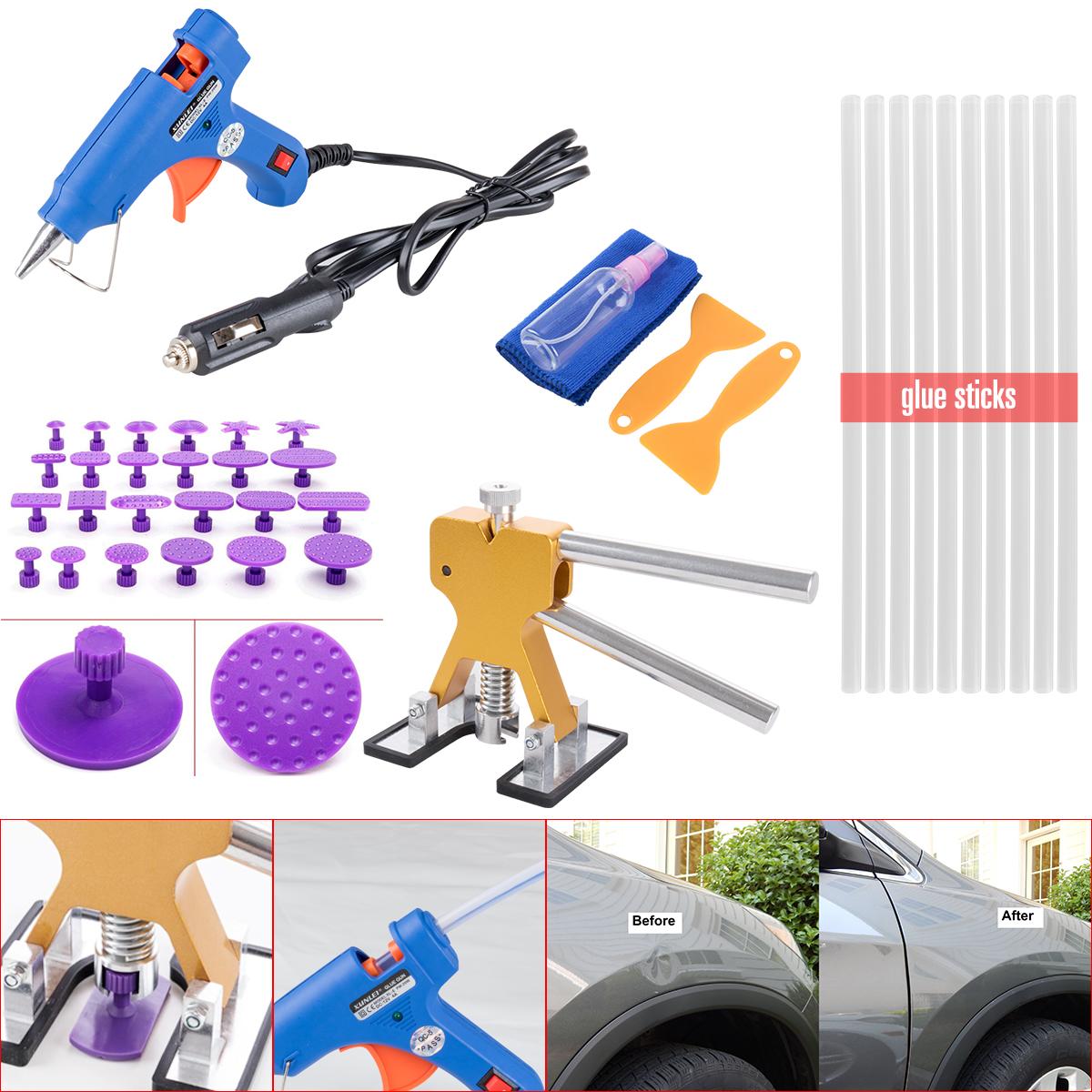Car Glue Gun Puller 24X Tabs 10X Sticks Paintless Dent Repair Tools Tap Down