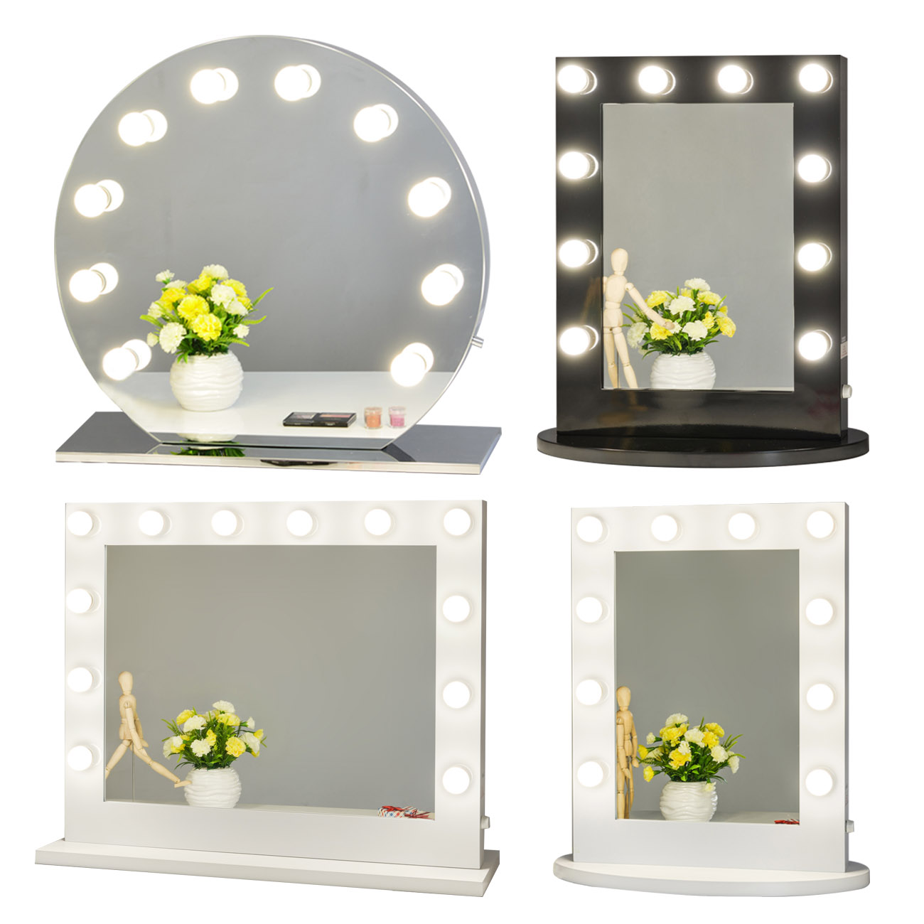 Rahmenlos Hollywood Kosmetikspiegel mit Beleuchtung Bühne ...