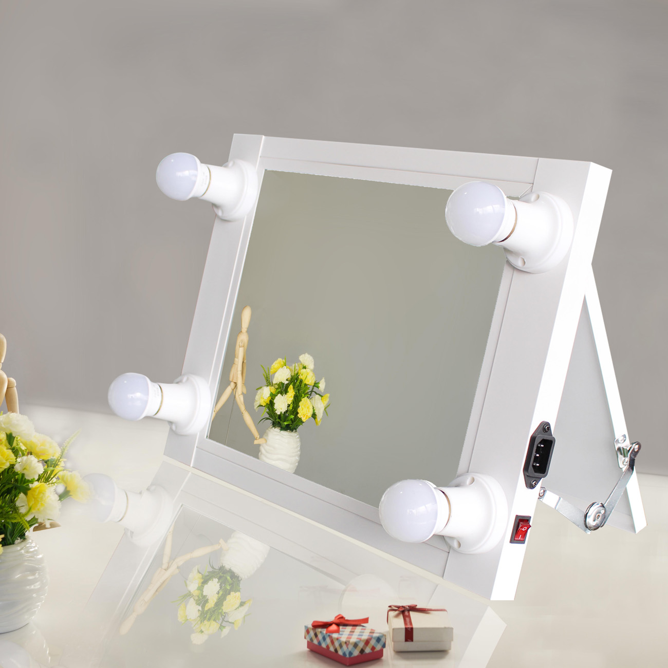 Hollywood Lighted Makeup Vanity Mirror Aluminum Dimmer Beauty