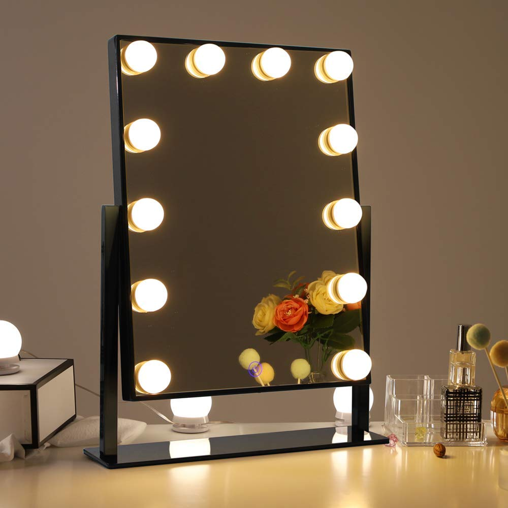 Details About Chende Black Hollywood Lighted Makeup Mirror Standing Vanity With Lights