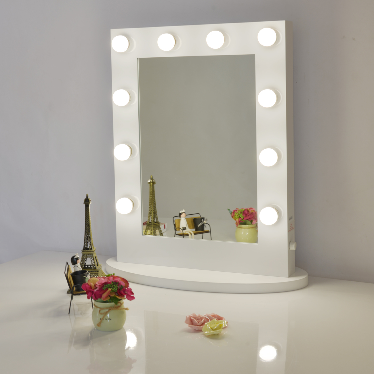 White hollywood makeup vanity mirror with light dimmer for Beauty mirror