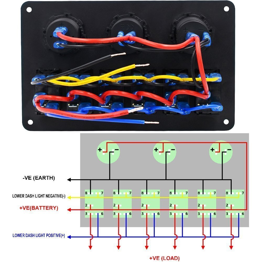 4 Gang 12v Switch Panel Wiring Diagram Solutions 6 Led Rocker Circuit Breaker Charger For Marine
