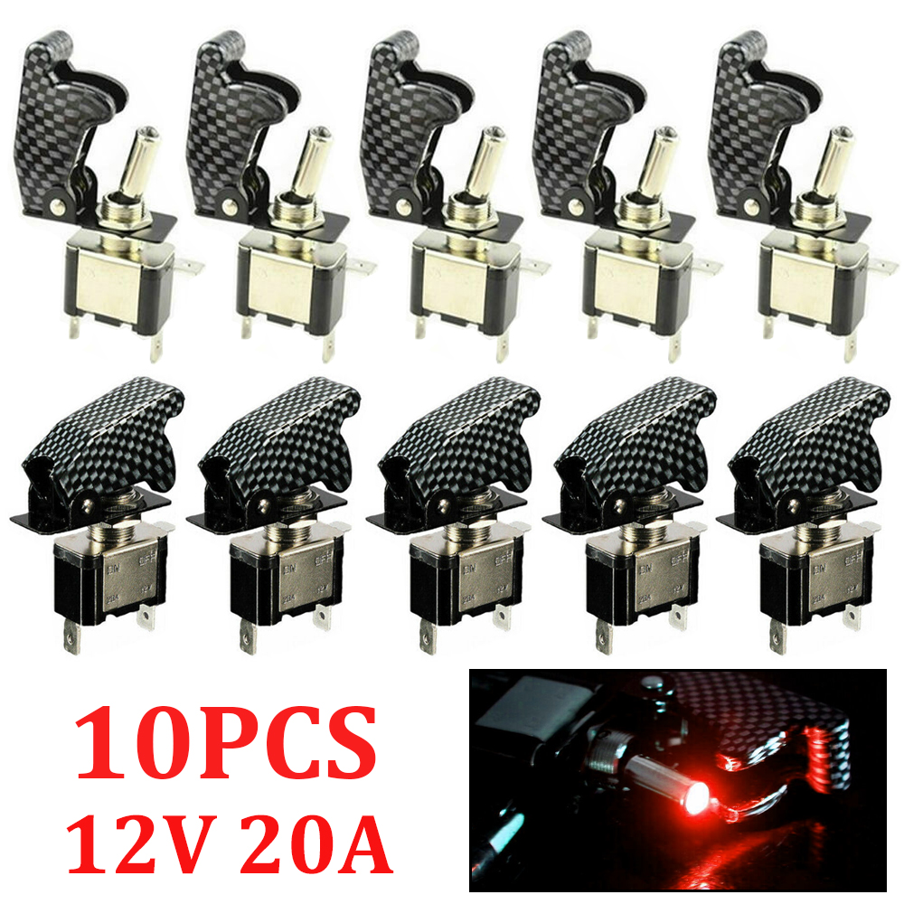 Automotive Car 12V 20A LED Toggle Switch Carbon Fiber Cover Control Spst On//Off