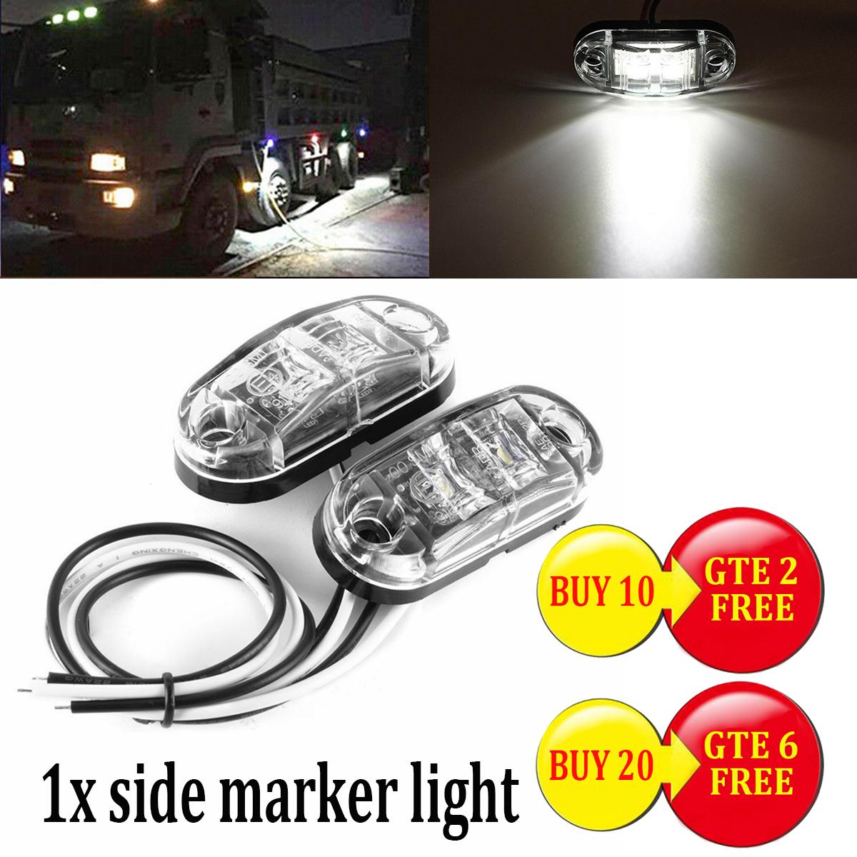 2pcs Truck Trailer Caravan LED Side Marker Clearance Light Lamp Red+White New