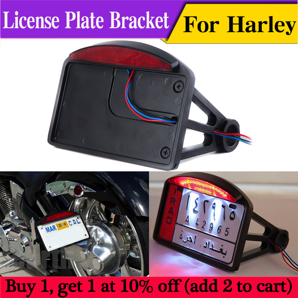 Custom Side Mount Motorcycle integrated Tail Light With License Plate Holder New