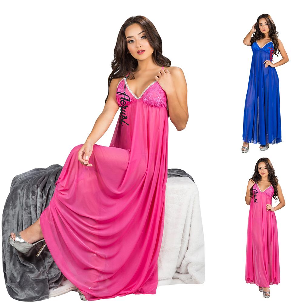 ee26c02bf9b Details about Sexy Women Long Sheer Lingerie Robe Babydoll Dress G-String Sleepwear  Nightgown