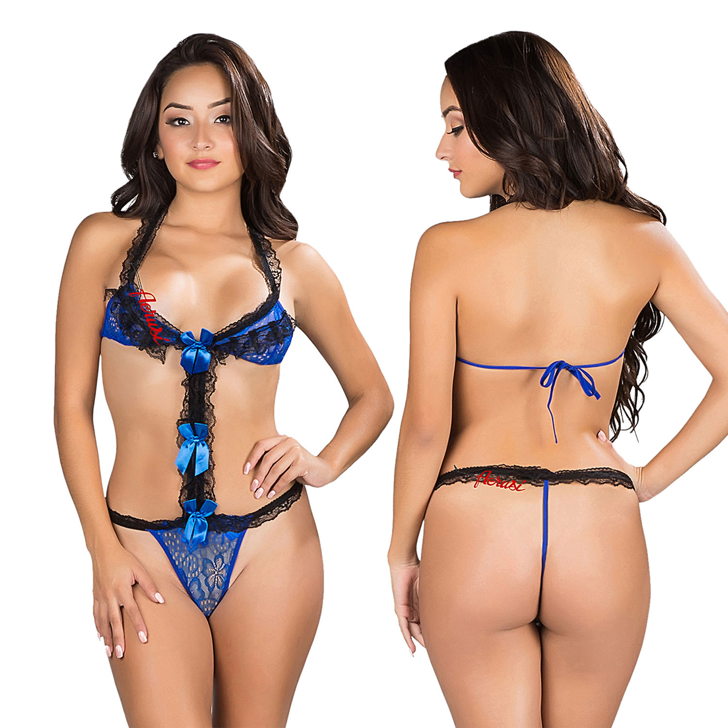 ba274802a42c Blue Women Sexy Lingerie Ruffle Lace Bodysuit Teddy with Bow ...