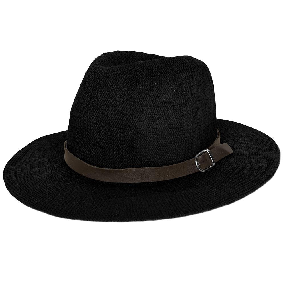Aerusi Women Fedora Summer Beach Travel Straw Sun Hat Wide Brim Buckle Band  Cap 0c51c95e04e2