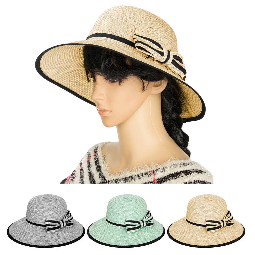 Details about Aerusi Women Girls Panama Wide Brim Straw Sun Floppy Hat with Ribbon  Tie Band ff2410fdda6