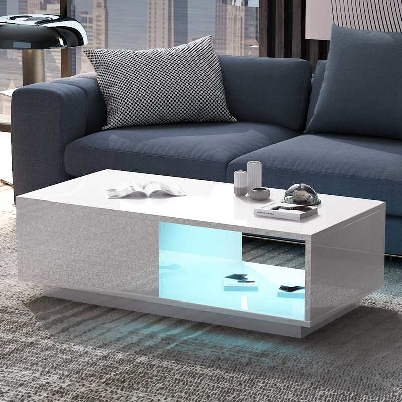 Details About Living Room Table Modern White High Gloss Led Coffee Table With Drawer Storage