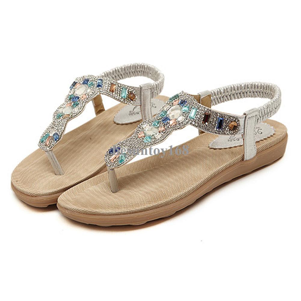 53967cc0a Women s Elastic Shiny Rhinestone Flip Flops Summer Beach Thong Flat Sandals  Walking Shoes