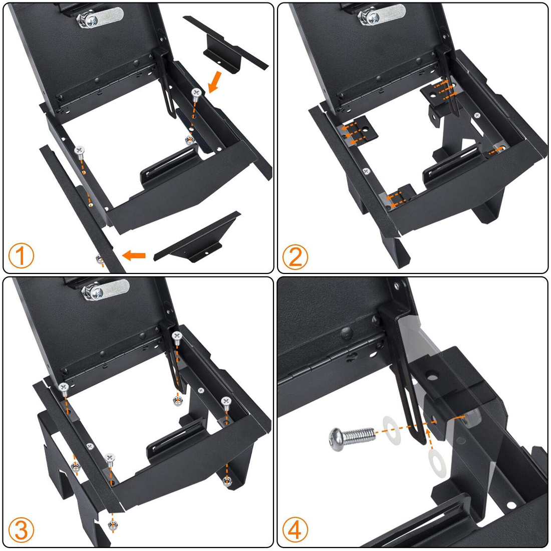 Security Console Insert Center Console Safe Heavy Duty Armrest Storage Lock Box for 2018 2019 Jeep Wrangler JL JLU