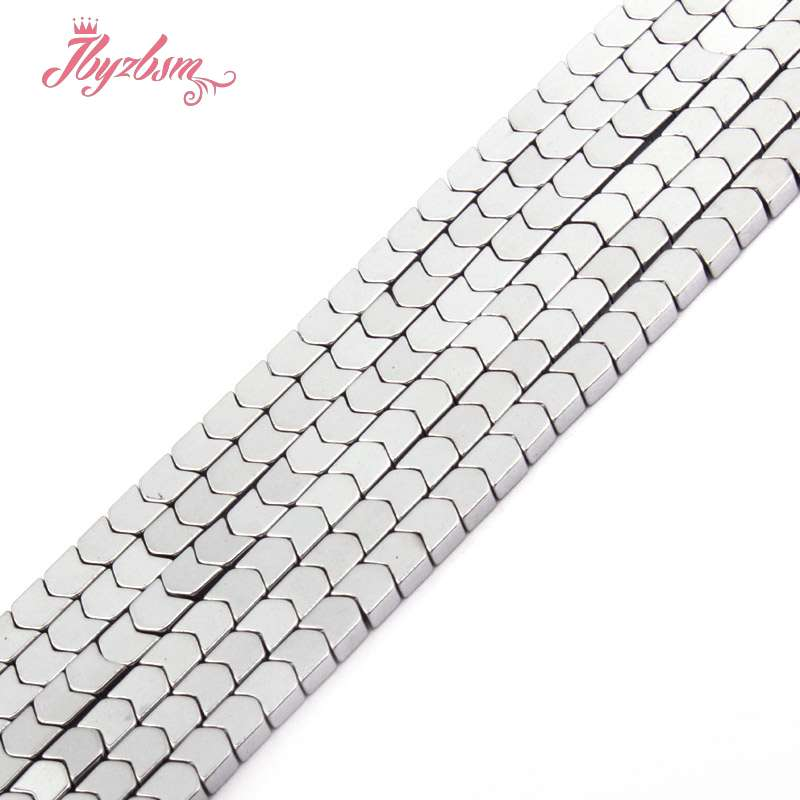 """Silver V Shape Plated Hematite Stone Spacer Loose Beads for Jewelry Making 15/"""""""