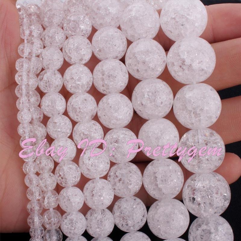 Round-White-Crystal-Rock-Quartz-Beads-Cracked-Smooth-Gemstone-15-034-4-6-8-10-12mm
