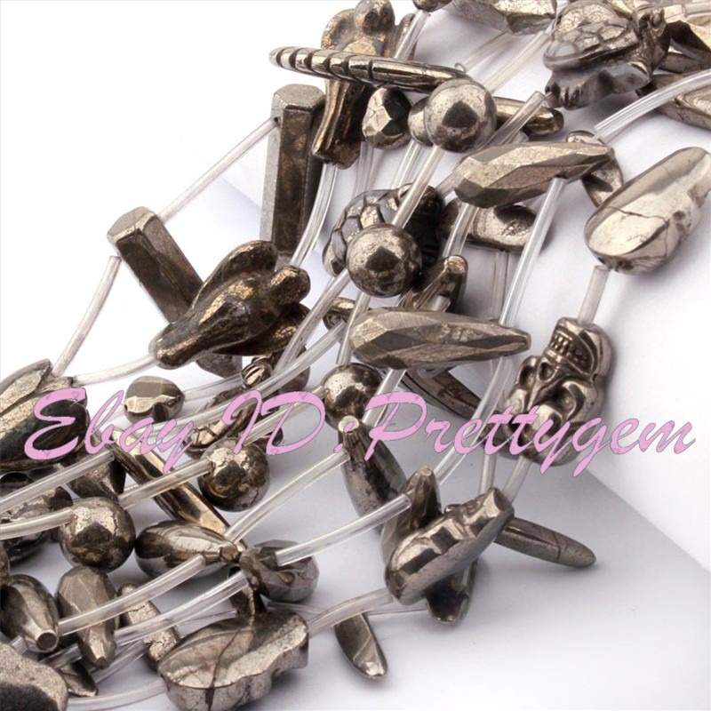 """Natural Pyrite Mixed Shape Gemstone For DIY Jewelry Making Beads 15 /"""" Pick Shape"""
