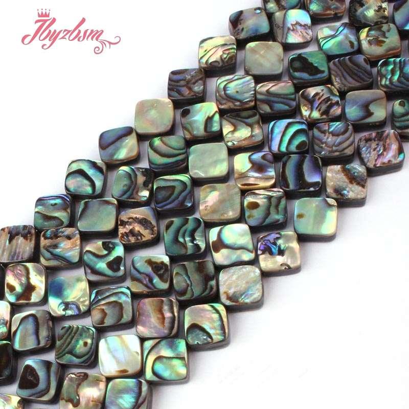 """Natural diagonal Cuadrado Mutil-Color Abalone Concha De Mar Arco Iris Piedra Cuentas 15/""""hágalo usted mismo"""