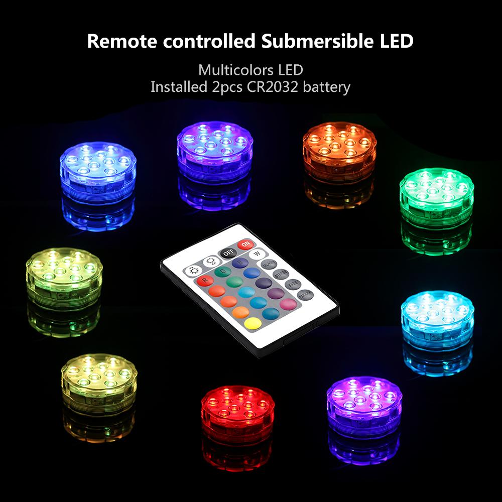 2stk rgb led tauchlampe wasserdicht lichter beleuchtung mit fernbedienung de ebay. Black Bedroom Furniture Sets. Home Design Ideas