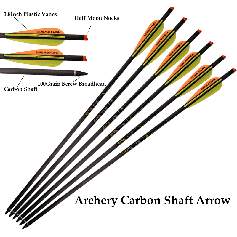 """12PCS 20/""""Carbon Arrow Crossbow Vane Point Target Archery Crossbow Bow Hunting"""