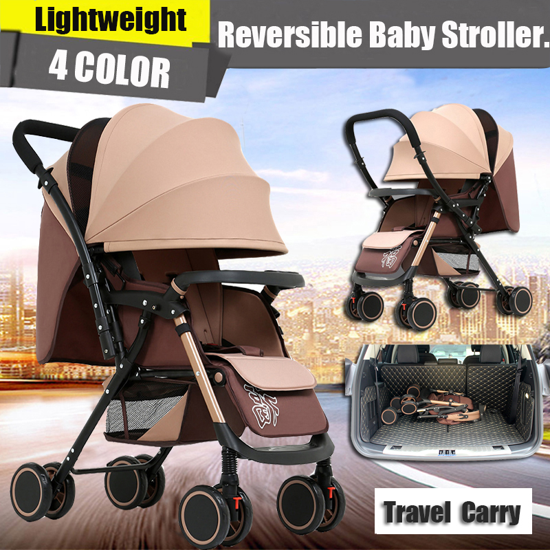 Reversible Folding Pushchair with Five-Point Harness from Birth to 15KG Lightweight Buggy Stroller with Adjustable Backrest Compact Travel Buggy