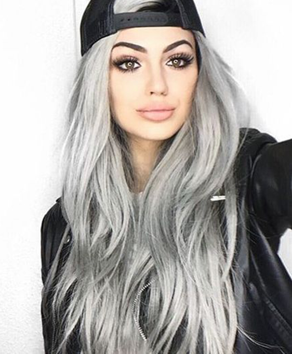 Ombre Gray Wig Long Wavy Synthetic Wigs Silver Gray Lace