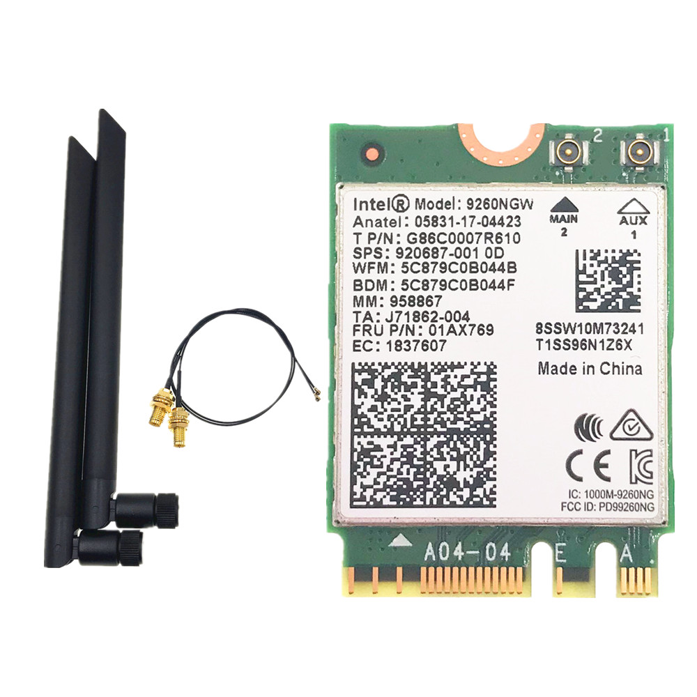 Dual Band 1730Mbps Intel 9260NGW Bluetooth 5.0 WiFi Wireless Card With Antennas