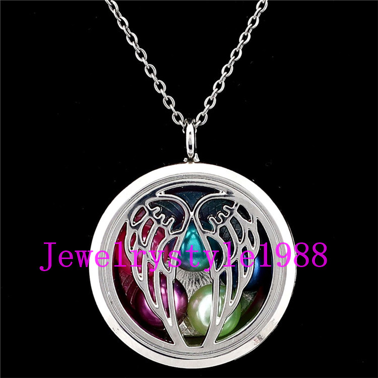 """K1182 Silver Color Pearl Cage Flower Round Floating Diffuser Charm Necklace 20/"""""""
