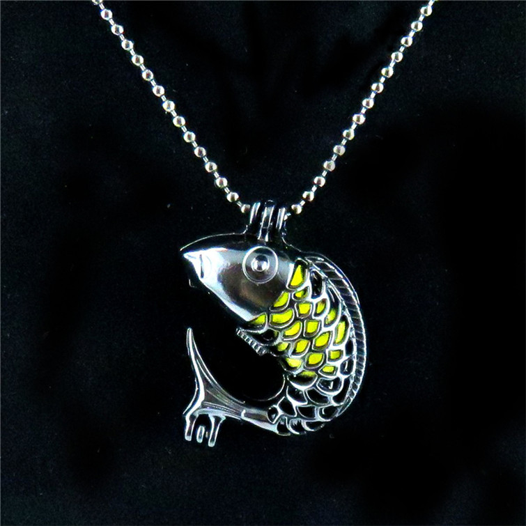"""H49  Black Color Stainless Necklace 18/"""" Alloy 28mm Lucky Fish Beads Cage"""