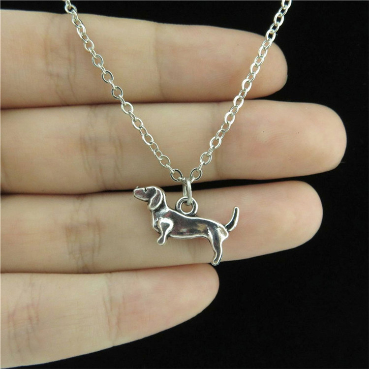 "18/"" Chain Alloy Collar Short Necklace Silver Animal Dachshund Dog Puppy Pendant"