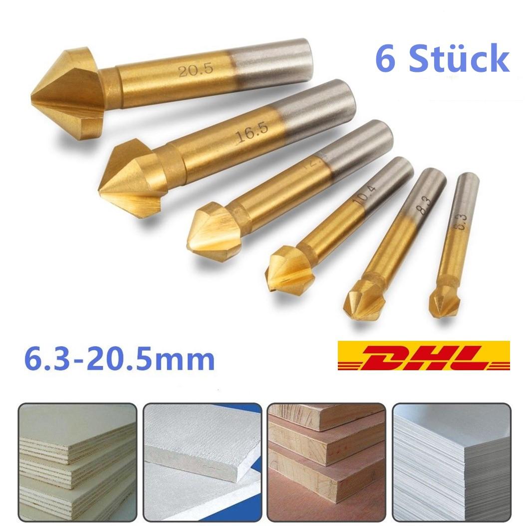 6×HSS Kegelsenker Senker Senkbohrungssatz Versenker Holz Metall 6.3-20.5mm set