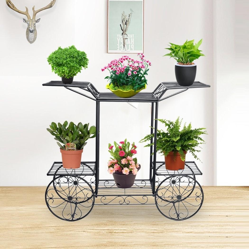 Blumentreppe 2 Ebenen Metall Blumenständer für innen und außen Pflanzenregal DHL