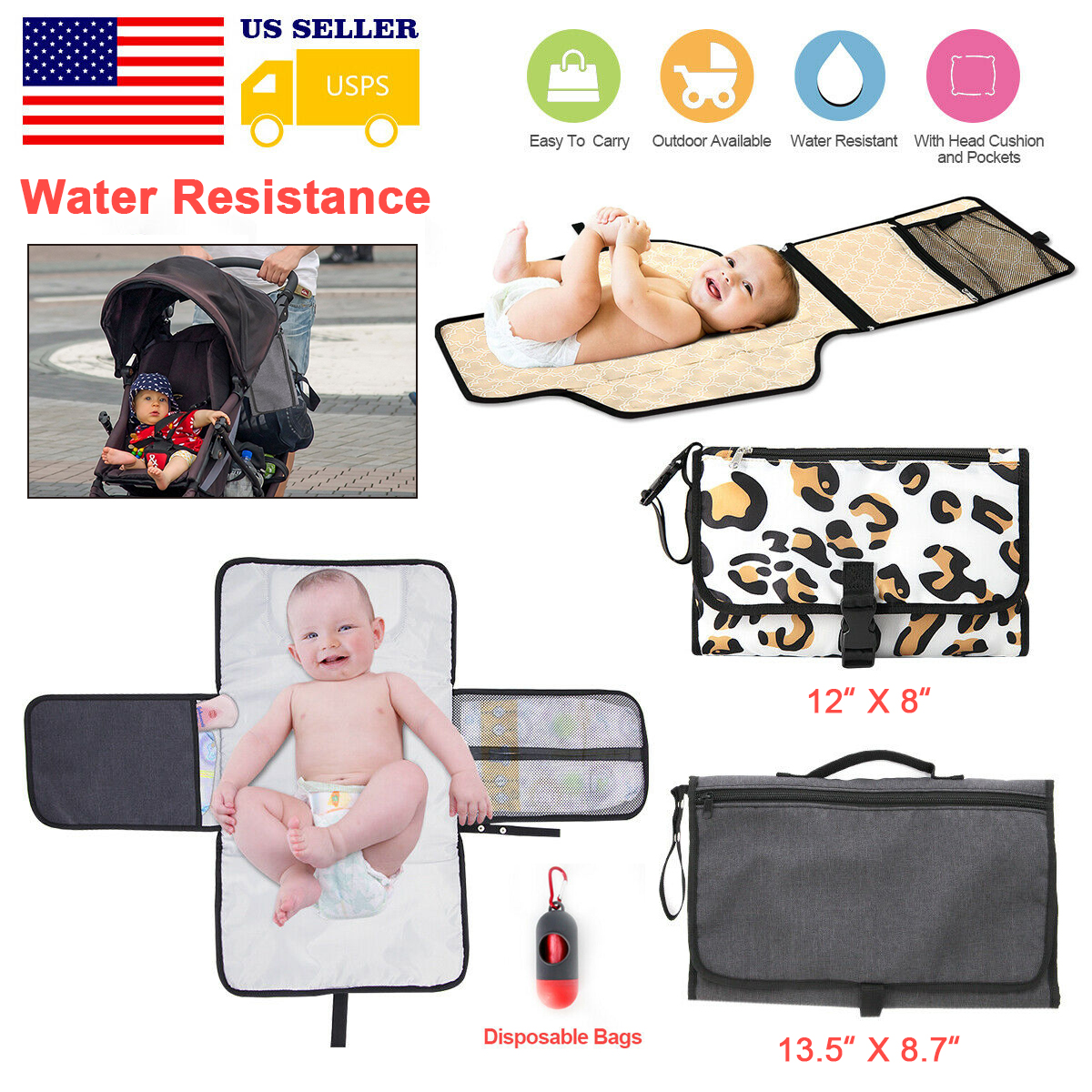 Diaper Changing Pad Baby Changing Pad Portable with Head Cushion and Pockets Portable Changing Pad Waterproof /& Foldable Changing Table Pad Travel Baby Changing Station Diaper Clutch