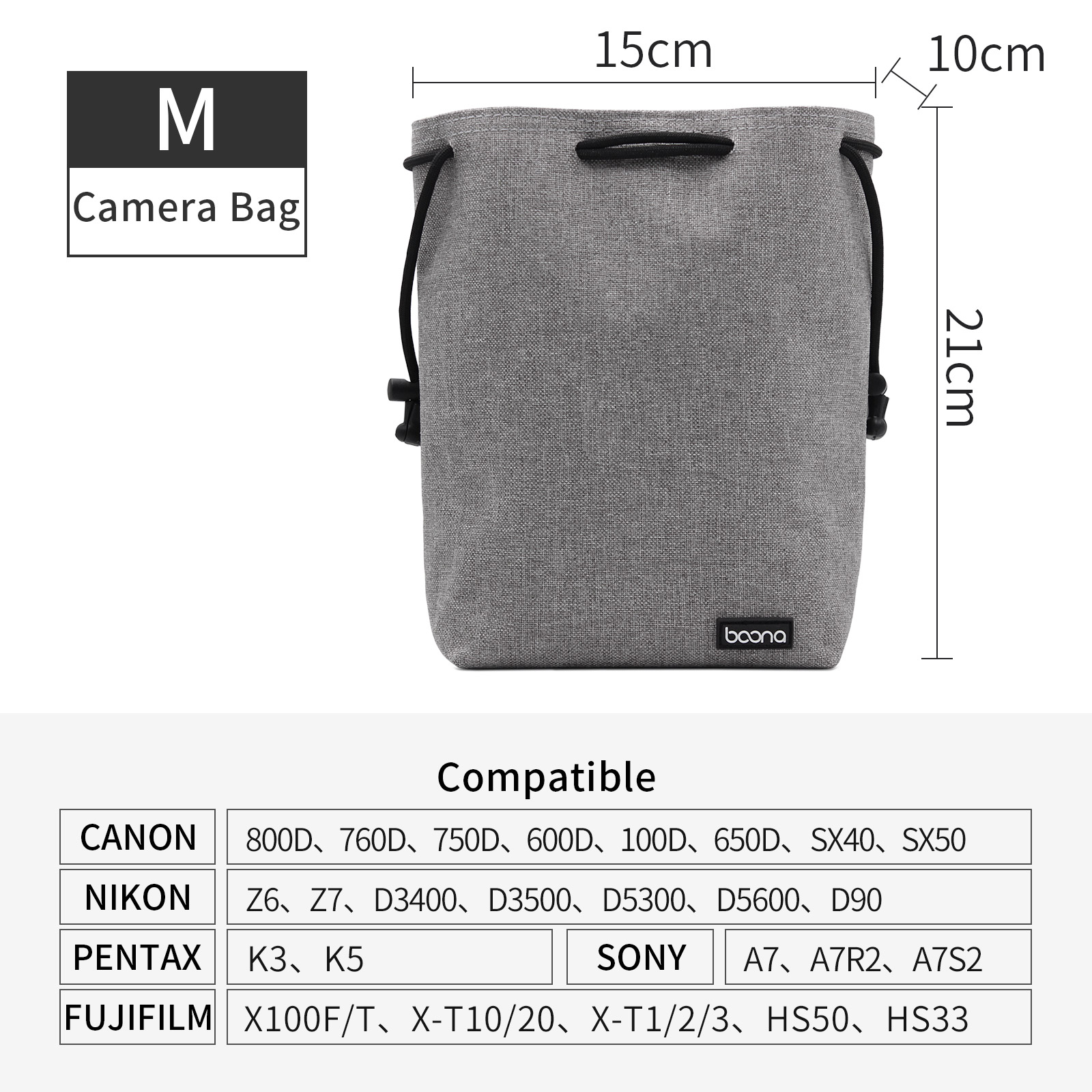 Baona Waterproof Velvet Protector Video Camera Small Travel Bag Case Drawstring Pouch for DSLR Nikon Canon Sony Pentax Camera and Lens Round-S-Gray