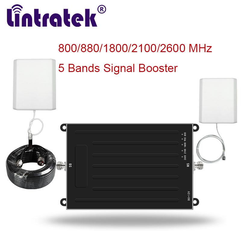 Cellphone Cellular Signal Booster 5 Bands Amplifier 2g 3g 4g Lte Antennas 10m Eu Ebay