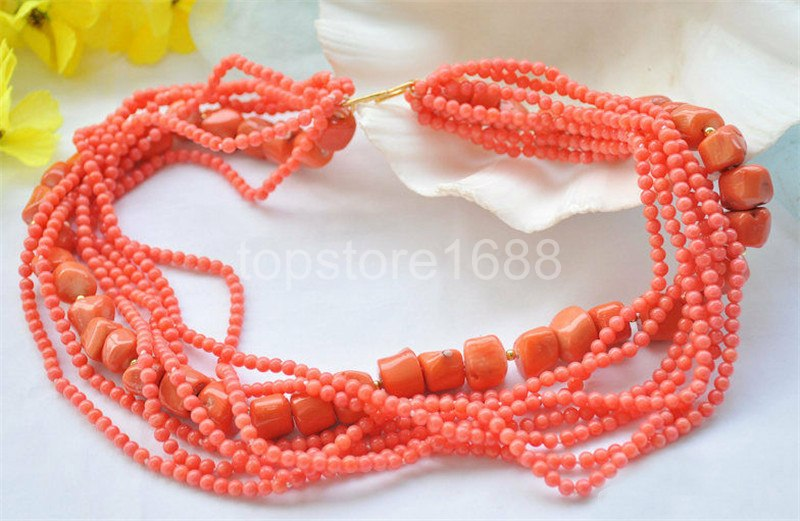 """S1769 2row 19/"""" 17mm real baroque red coral bead necklace"""